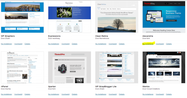 Direct een thema installeren in WordPress