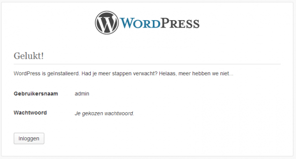 Wordpress geinstalleerd