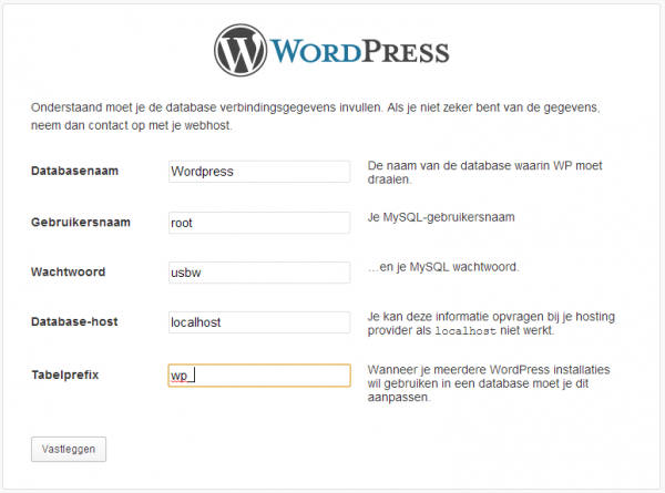 Databaseconfiguratie WordPress