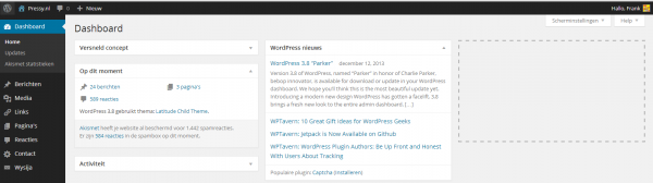 WordPress 3.8 dashboard
