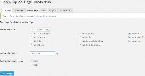 Database backup WordPress